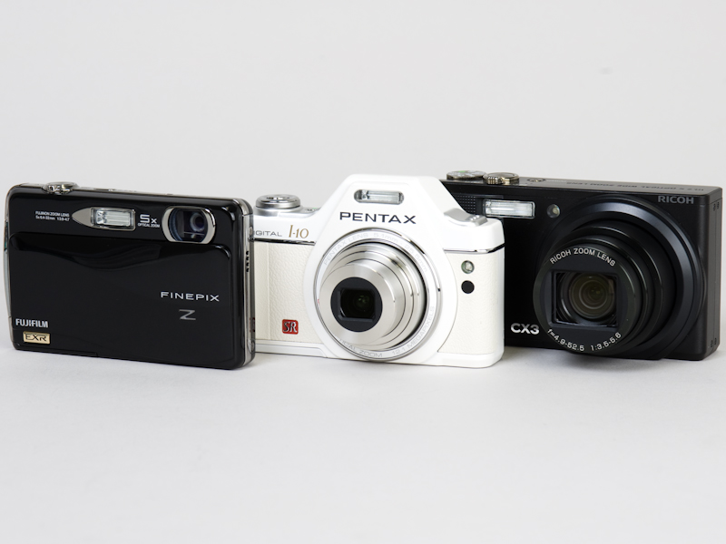 <b>左からFinePix Z700EXR、Optio I-10、CX3</b>