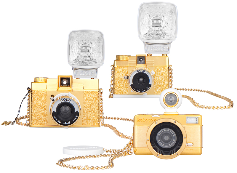 <b>Diana Mini Gold(奥)、Diana F+ Gold Edition(左)、Fisheye2 Gold Edition(手前)</b>