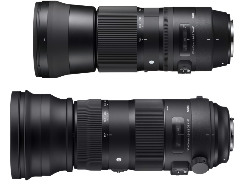 SIGMA 150-600mm F5-6.3 DG OS HSM。Contemporary(上)とSports(下)